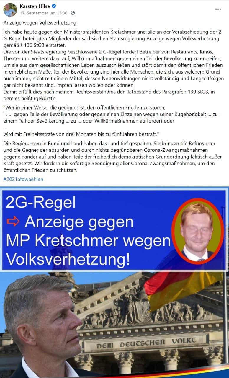 Karsten Hilse zeigt MP Kretschmer an