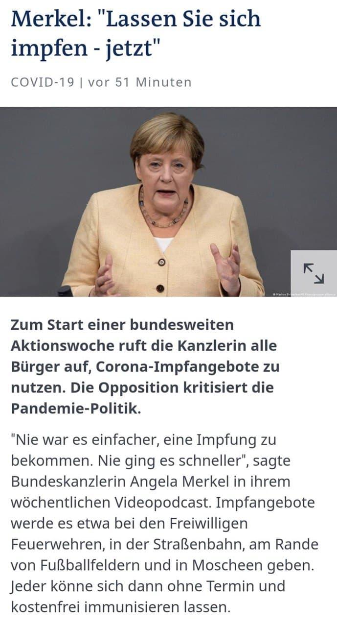 Merkel Impfaufforderung